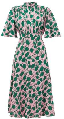 La DoubleJ Joan Moses-print Front-slit Crepe Dress - Pink Print