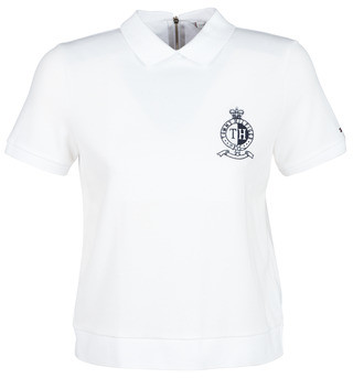 Tommy Hilfiger CHRISTINE STR PQ POLO SS women's Polo shirt in White