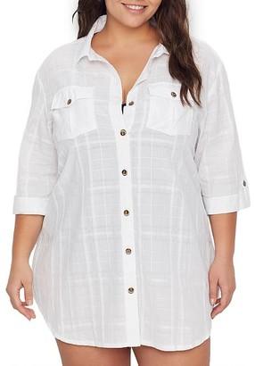 Dotti Plus Size Travel Muse Gauze Shirt Cover-Up