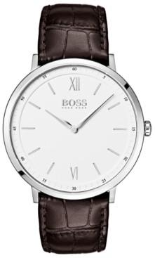 BOSS Hugo Men's Essential Ultra Slim Brown Leather Strap Watch 40mm