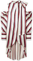 Monse Oversized Cold-shoulder Striped Satin-twill Blouse - White