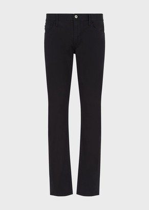 Emporio Armani J06 Slim-Fit Trousers In Stretch, Dyed Satin