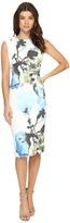 Christin Michaels Opal Floral Print Midi Dress with Shoulder Detail