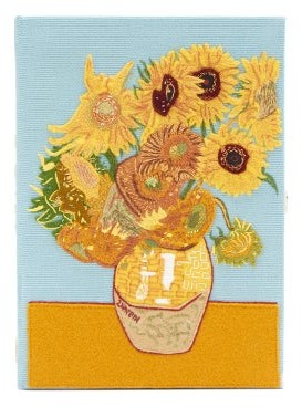 Olympia Le-Tan Van Gogh Sunflowers Embroidered Book Clutch - Blue Multi