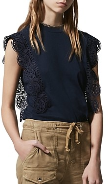 The Kooples Lace Trim Sleeveless Top