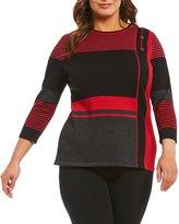Allison Daley Plus 3/4 Sleeve Stripe Colorbock Sweater Pullover