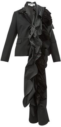 Comme des Garcons Satin-ruffled Wool Blazer - Womens - Black