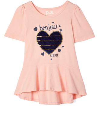 Aeropostale p.s. from Girls' Tee Shirts CORLT - Coral 'Bonjour Cherie' Peplum Top - Girls