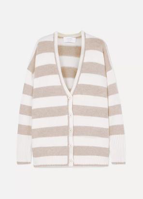 La Ligne Martha Striped Wool And Cashmere-blend Cardigan - Cream
