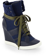 Chloé Leather & Canvas Wedge Sneakers