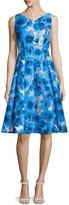 Carmen Marc Valvo Sleeveless Floral-Print Fit & Flare Dress