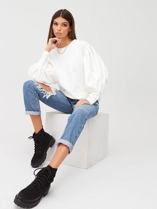 boohoo Balloon Sleeve Sweatshirt - Cream