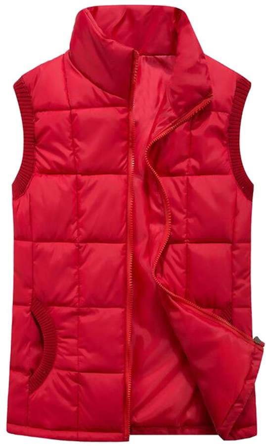 XQS Mens Stand Collar Quilted Down Vest Slim Puffer Vest