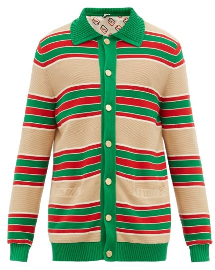 68b061e964 Web Striped Cotton Cardigan - Mens - Green Multi