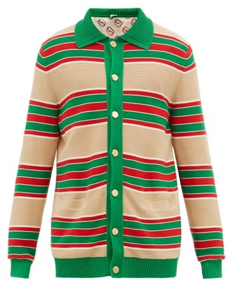 Gucci Web Striped Cotton Cardigan - Mens - Green Multi