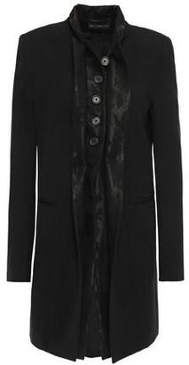 Ann Demeulemeester Jacquard-trimmed Wool-blend Twill Coat