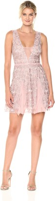 BCBGMAXAZRIA Azria Women's Pheobe Knit Ruffled Dress with Back Cut Out