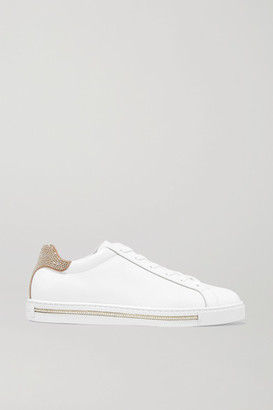 Rene Caovilla Crystal-embellished Suede And Leather Sneakers - White