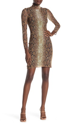 Velvet Torch Mock Neck Mesh Sheath Mini Dress