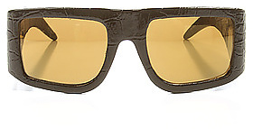 Jeremy Scott for Linda Farrow Sunglasses The Logo Patent Leather Sunglasses In Black with Gold Mirror Lens