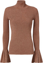 Carven Lurex Pleated Rose Gold Turtleneck Red S