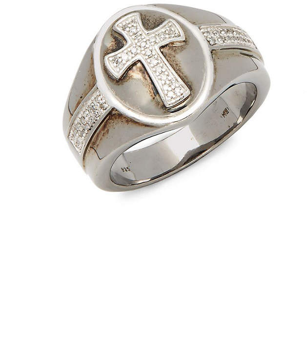 Effy Fine Jewelry Silver 0.17 Ct. Tw. Diamond Cross Ring