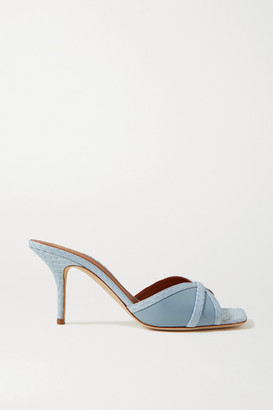 Malone Souliers Perla 70 Elaphe And Leather Mules - Sky blue