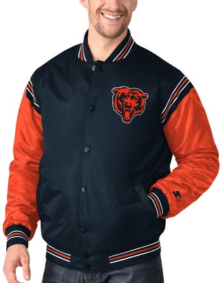 Men's Starter Navy/Orange Chicago Bears Enforcer Satin Varsity Full-Snap Jacket