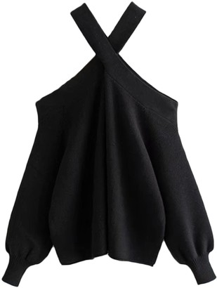 Goodnight Macaroon 'Mall' Cross Cold Shoulder Sweater (2 Colors)