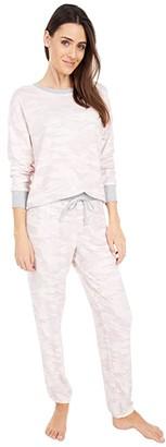 Splendid Westport Brushed Jersey Long Sleeve PJ Set (Camo/Soft Pink) Women's Pajama Sets