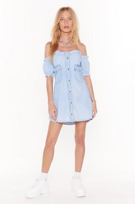 Nasty Gal Womens Vintage Bust fo Life Denim Dress - blue - S