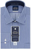 Eagle Men's Non Iron Stretch Collar Regular Fit Stripe Spread Collar Dress Shirt