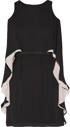 Halston Cape-effect Chiffon Mini Dress