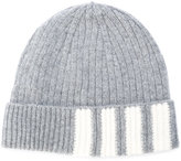Thom Browne ribbed stripe panel beanie - men - Cashmere - One Size