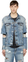 Balmain Blue Denim Destroy Jacket