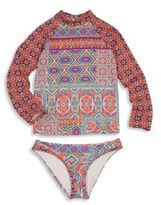 OndadeMar Little Girl's & Girl's Two-Piece Miranda Rash Guard & Bikini Bottom Set