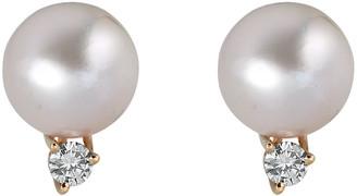 BELPEARL 14K 0.14 Ct. Tw. Diamond & 8.5Mm Pearl Earrings