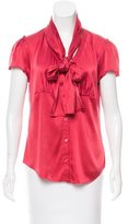 Magaschoni Tie-Accented Short Sleeve Top