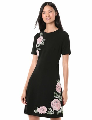 Jax Women's Short Sleeve Fit & Flare with Embroidered Flower Detail