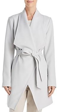 T Tahari Abbey Drape Front Crepe Trench Coat