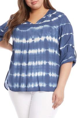 Karen Kane Tie Dye Roll Tab Sleeve Top