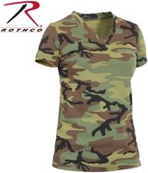 Rothco Womens Long Length Camo V-Neck T-Shirt,