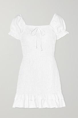 Faithfull The Brand Cette Ruffled Shirred Linen Mini Dress - White
