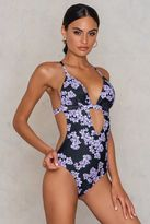 Wolfwhistle Drawn Blossom Cut Out Swimsuit