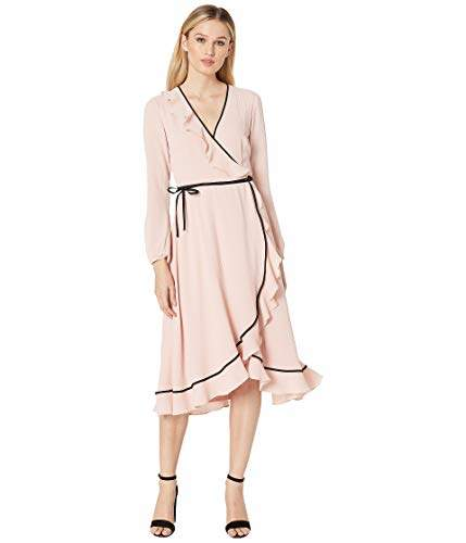 Adrianna Papell Women's Chiffon Wrap Dress with Long Sleeves