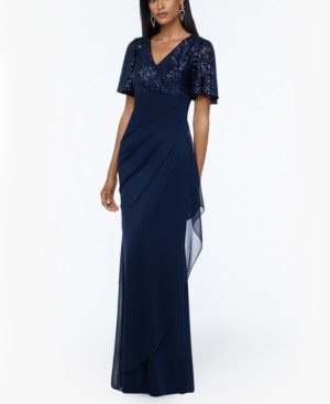 Xscape Evenings Sequined-Top Ruched Gown