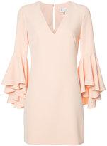 Milly frill sleeve shift dress - women - Polyester/Spandex/Elastane - 4