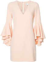Milly frill sleeve shift dress - women - Polyester/Spandex/Elastane - 6