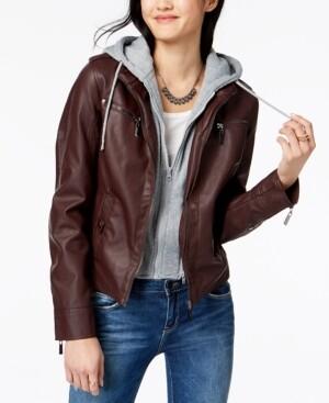 Joujou Jou Jou Juniors' Hooded Faux-Leather Moto Jacket