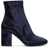 Balenciaga - Bottes en velours bleu